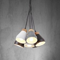 Pendelleuchte Fleur 6-flammig - Schwarz/Weiß, MODERN, Holz/Metall (24/100cm) - Mömax modern living
