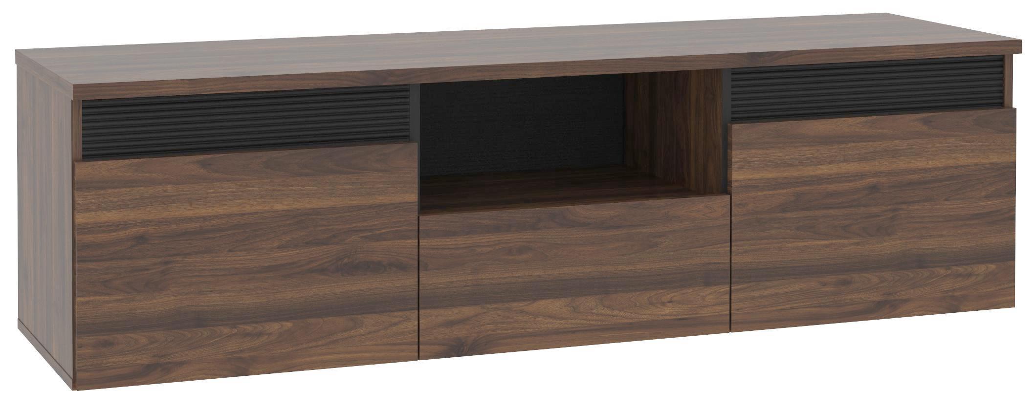 Tv - Elem Fuli - fekete/diófa színű, modern, műanyag/fém (149,8/44/41,3cm)