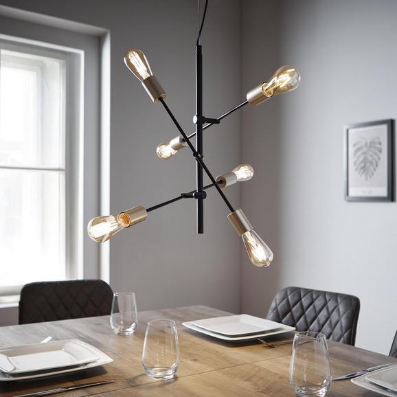 Pendelleuchte Darcie 6-flammig - Goldfarben/Schwarz, MODERN, Glas (54/150cm) - Modern Living