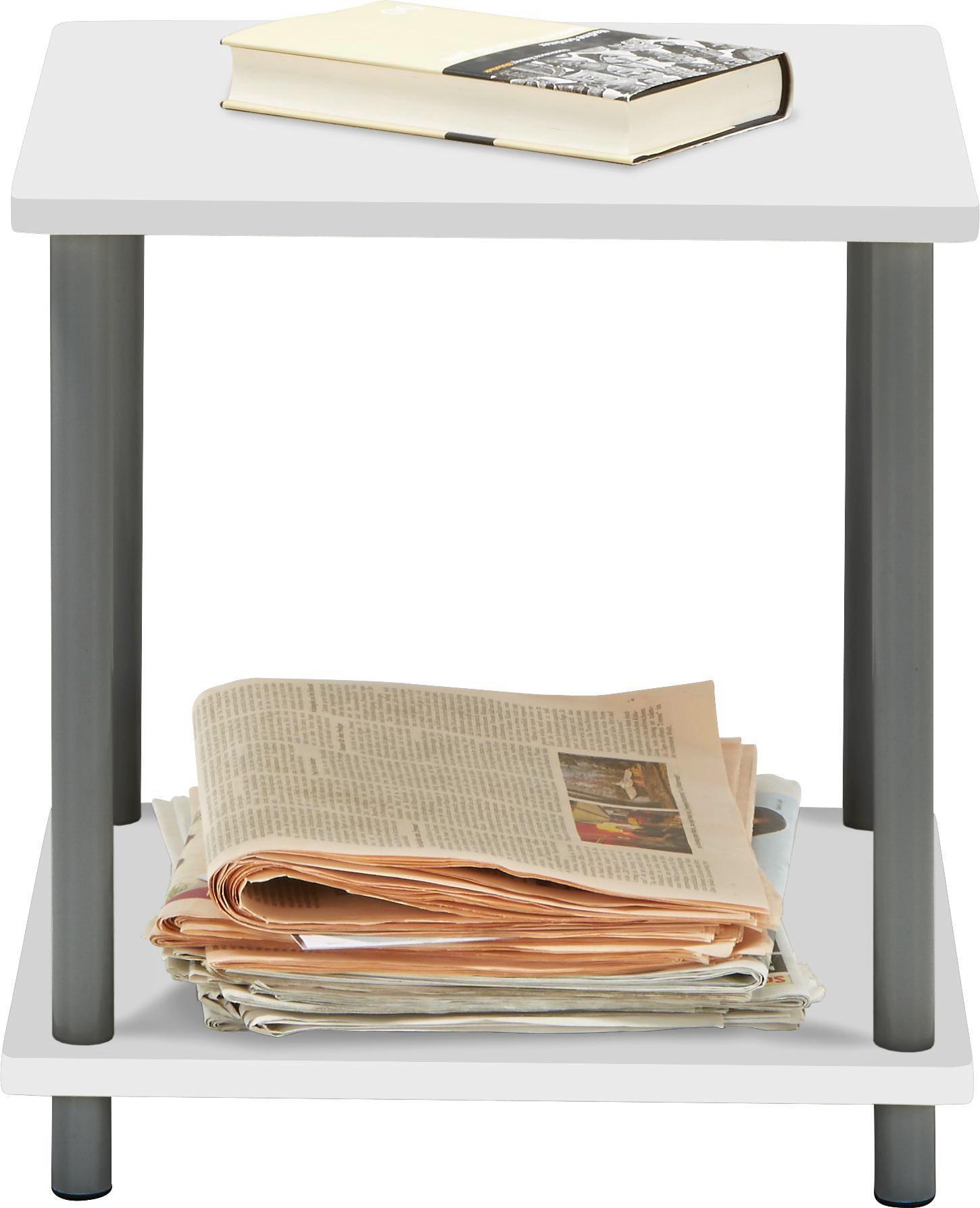 Beistelltisch in Weiß/Grau - Weiß/Grau, MODERN, Holzwerkstoff/Kunststoff (40/41,5/40cm) - MÖMAX modern living