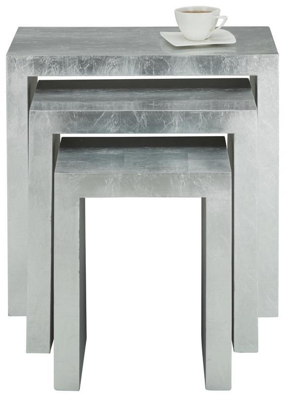 Beistelltischset in Silberfarben, 3-teilig - Silberfarben, LIFESTYLE, Holzwerkstoff (61/47/34/60/52/44/32/30/28cm) - Mömax modern living