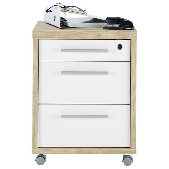 Rollcontainer in Weiß/Eichefarben - Eichefarben/Weiß, MODERN, Holzwerkstoff/Metall (47kg) - Mömax modern living