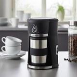 Kaffeeautomat inkl. Coffee-to-go Becher - Edelstahlfarben/Schwarz, MODERN, Kunststoff/Metall (15,5/23,5/15cm) - Bomann