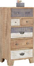 Highboard Braun/Weiß/grau Mangoholz - Silberfarben/Schwarz, LIFESTYLE, Holz/Holzwerkstoff (60/118/45cm) - ZANDIARA