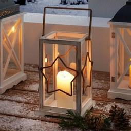 Laterne Leevi - Braun/Weiß, MODERN, Glas/Holz (21,5/19,5/44,5cm) - Mömax modern living