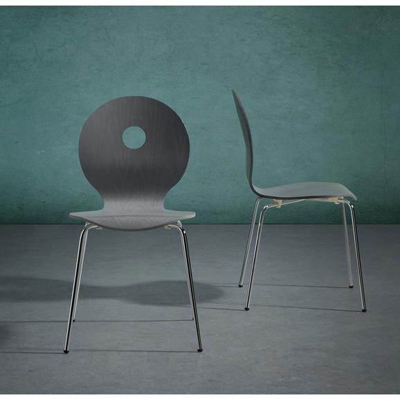 Stuhl Nahia - Chromfarben/Grau, MODERN, Holz/Metall (48/85/48cm) - Bessagi Home