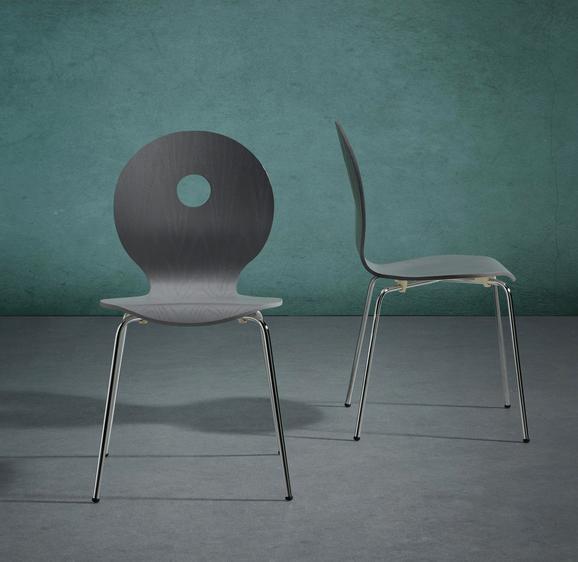 Stuhl Nahia - Chromfarben/Grau, MODERN, Holz/Metall (48/85/48cm) - Modern Living