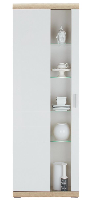 Vitrine in Weiß Hochglanz - Weiß/Sonoma Eiche, MODERN, Glas/Holz (70/207/38cm) - PREMIUM LIVING