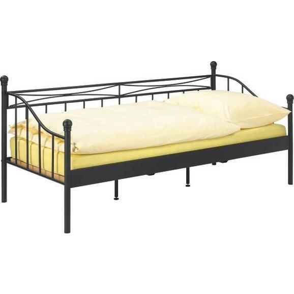 Tagesbett in Schwarz ca. 90x200cm - Schwarz, ROMANTIK / LANDHAUS, Metall (207/92/98cm) - Zandiara