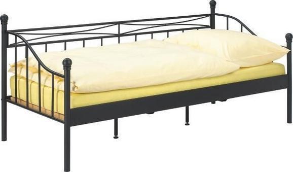 Tagesbett Schwarz ca.90x200cm - Schwarz, ROMANTIK / LANDHAUS, Metall (207/92/98cm) - Mömax modern living