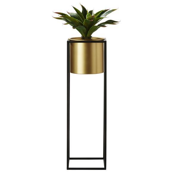 Übertopf Larissa in Schwarz/Goldfarben - Goldfarben/Schwarz, Trend, Metall (18/18/67cm) - Mömax modern living