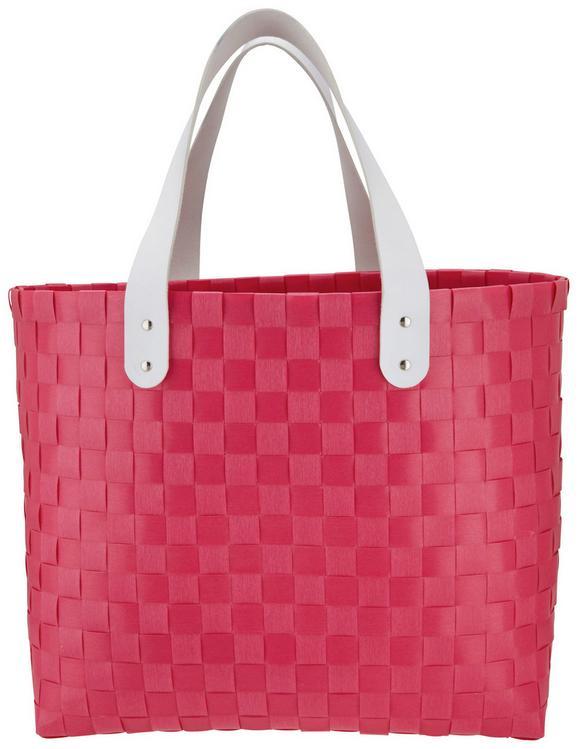 Einkaufstasche Kelly in Pink/Weiß/silber - Pink/Silberfarben, Kunststoff/Metall (39/19/34cm) - Mömax modern living