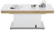 Couchtisch Weiß/Eichefarben - Edelstahlfarben/Eichefarben, MODERN, Holzwerkstoff/Metall (120/50-78,5/70-120cm) - Premium Living