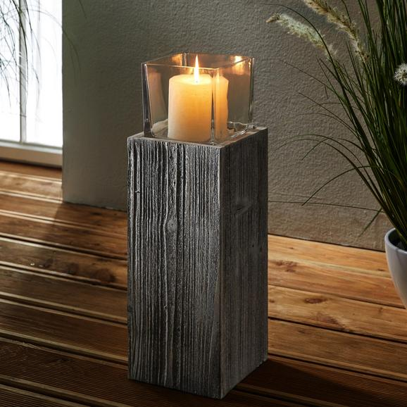 WINDLICHT inkl. Glas H ca. 54cm 'Pia' - Klar/Kieferfarben, MODERN, Glas/Holz (18/18/54cm) - Bessagi Home