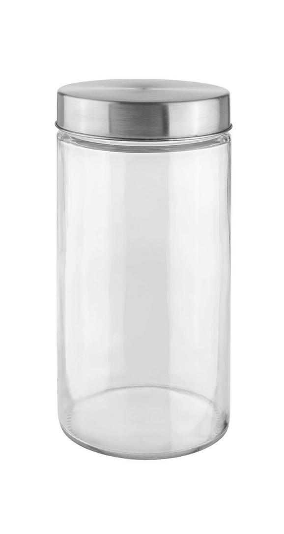 Tárolódoboz Magnus - Nemesacél/Átlátszó, modern, Üveg/Fém (11/22cm) - Based