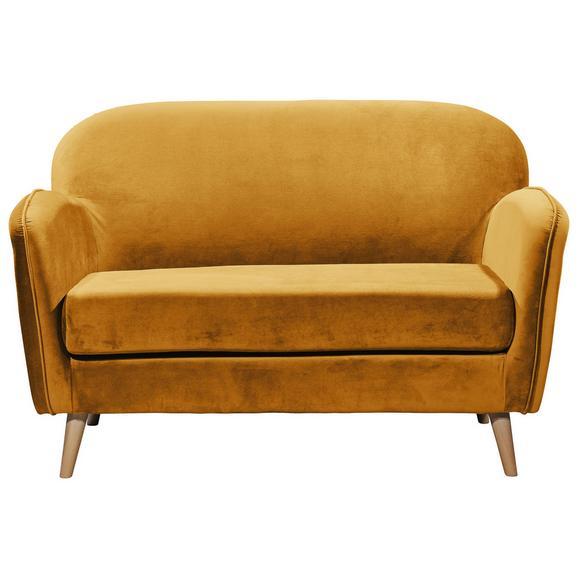 Sitzbank in Goldfarbe 'Milo' 2-Sitzer - Goldfarben/Kieferfarben, Trend, Holz/Holzwerkstoff (142/88/92cm) - Livetastic