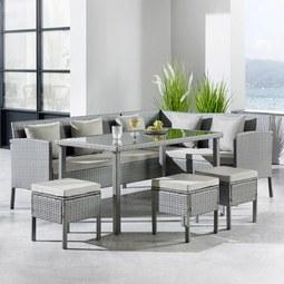 Loungegarnitur Adriana inkl. Auflagen & Rückenkissen - Grau, MODERN, Glas/Kunststoff - MÖMAX modern living