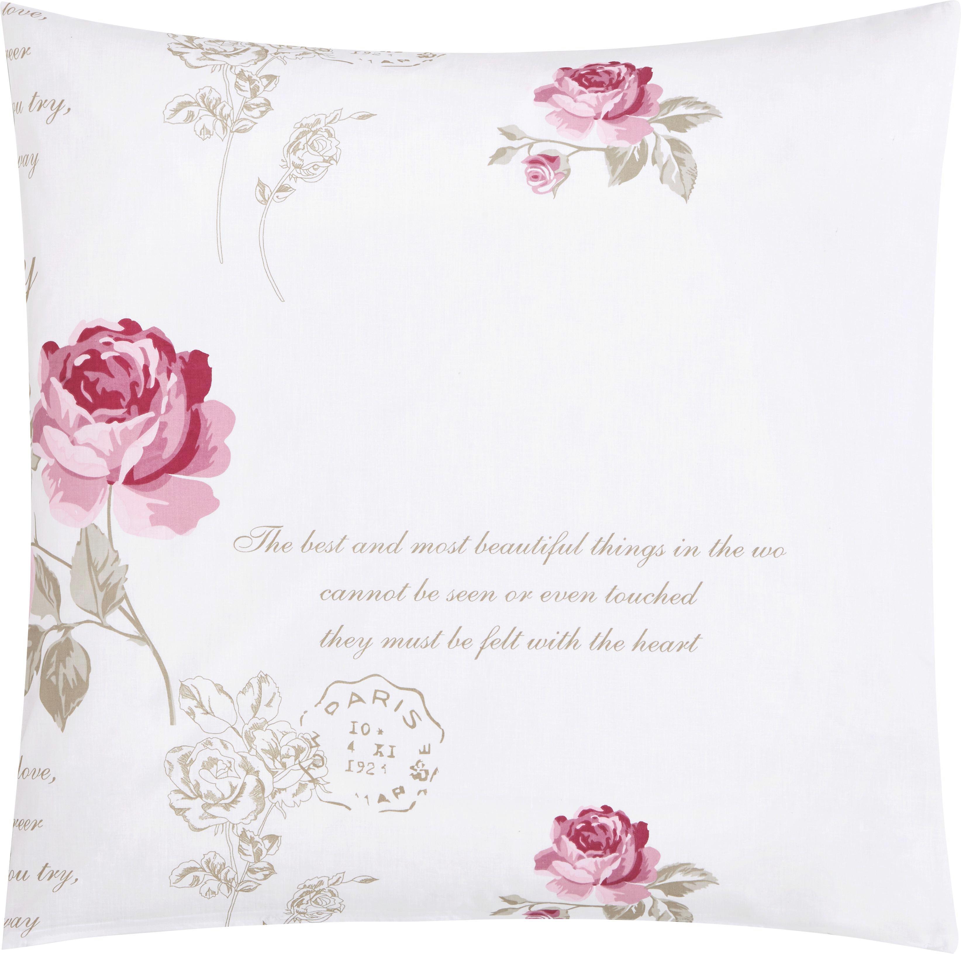 Bettwäsche Diary Rose ca. 135x200cm - Weiß, ROMANTIK / LANDHAUS, Textil - MÖMAX modern living