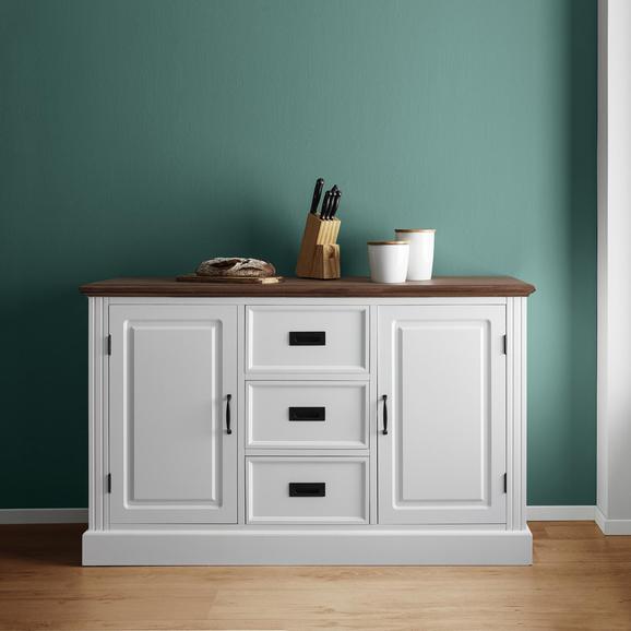 Sideboard Melanie - Weiß/Kieferfarben, MODERN, Holz/Metall (137,5/85/40cm) - Mömax modern living