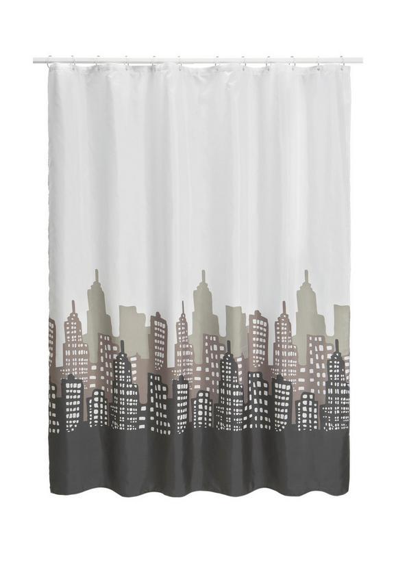 Duschvorhang Skyline, ca. 180x200cm - Schwarz/Weiß, LIFESTYLE, Textil (180/200cm) - Mömax modern living
