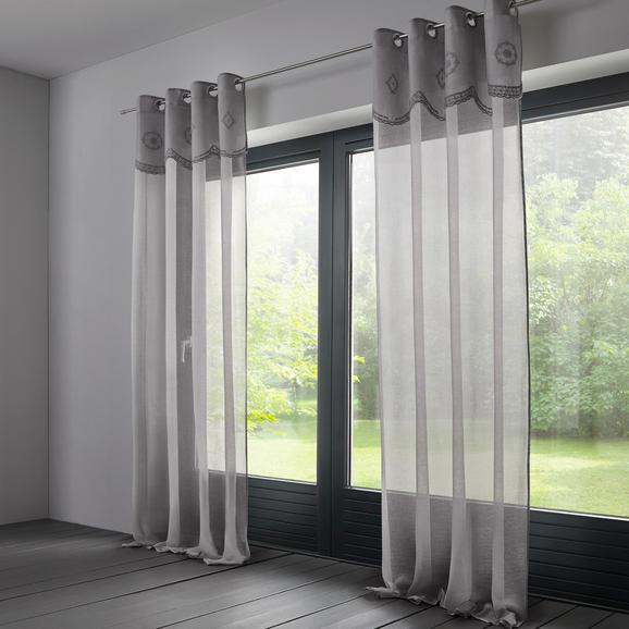 Baumwollvorhang Amalie 140x245cm - Hellgrau, ROMANTIK / LANDHAUS, Textil (140/245cm) - MÖMAX modern living