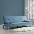 Sofa Esther mit Schlaffunktion inkl. Kissen - Blau/Chromfarben, MODERN, Holz/Textil (200/82/89cm) - Mömax modern living