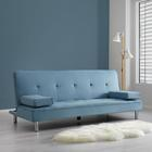 Sofa Esther mit Schlaffunktion inkl. Kissen - Blau/Chromfarben, MODERN, Textil/Metall (200/82/89cm) - Mömax modern living