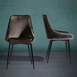 Stuhl Enna - Schwarz/Grau, MODERN, Textil/Metall (48/55/85cm) - Modern Living