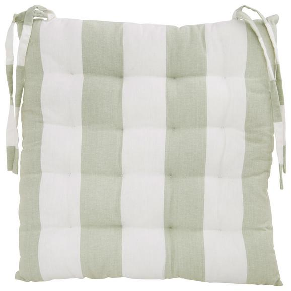 Sitzkissen Blockstreif Hellgrün - Hellgrün/Weiß, Textil (40/40cm) - Mömax modern living