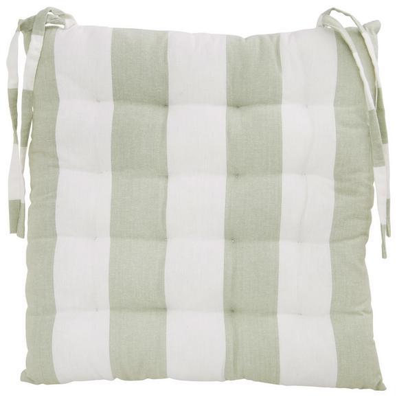 Sitzkissen Blockstreif Hellgrün - Weiß/Hellgrün, Textil (40/40cm) - Mömax modern living