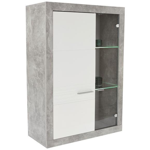 Vitrină Malta - alb/culoare aluminiu, Modern, plastic/sticlă (96/132/35cm)