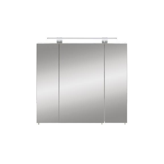 Spiegelschrank in Weiß - Weiß/Nickelfarben, MODERN, Glas/Holzwerkstoff (80/71-75/16cm)
