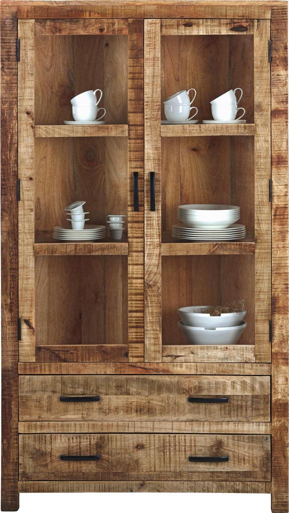 Vitrine Braun Mangoholz - Naturfarben, LIFESTYLE, Holz (100/180/42cm) - Zandiara
