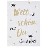 Postkarte Die Welt ist schön - Goldfarben/Schwarz, MODERN, Papier (10,5/14,8cm)