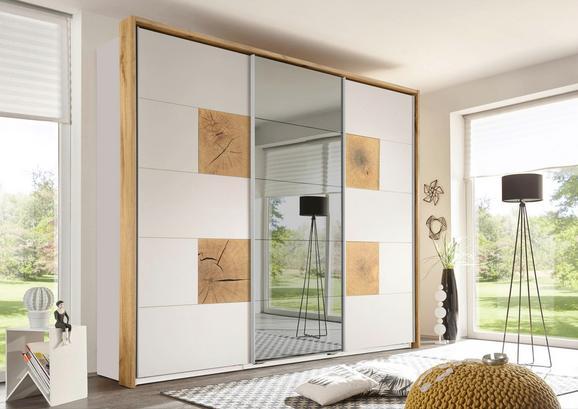 Schiebetürenschrank Weiß/Eiche-spiegel - Eichefarben/Alufarben, ROMANTIK / LANDHAUS, Glas/Holzwerkstoff (280/230/62cm) - PREMIUM LIVING