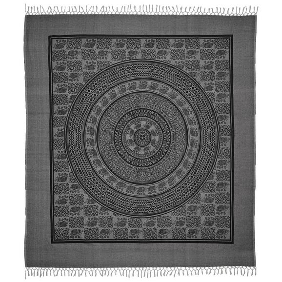 Strandtuch Ben in Grau ca. 210x240cm - Schwarz/Grau, Textil (210/240cm) - Mömax modern living