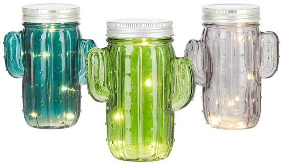 Laterna Cathy - petrolej/siva, Moderno, steklo (14cm)