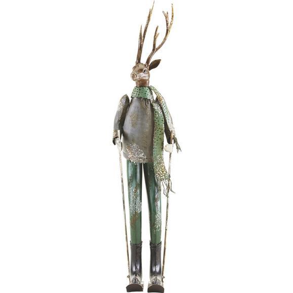 Dekohirsch Skilehrer H 65,5 cm - Silberfarben/Grau, MODERN, Metall (15,88/20,32/65,5cm) - Bessagi Home