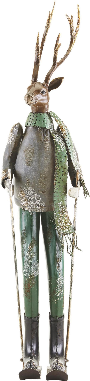 Dekohirsch Skilehrer H 65,5 cm - Silberfarben/Grau, MODERN, Metall (15,88/20,32/65,5cm) - Mömax modern living