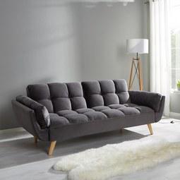 Sofa Clara mit Schlaffunktion - Grau, MODERN, Holz/Textil (214/82/81cm) - Modern Living