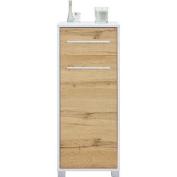 Unterschrank Weiß/Eichefarben - Chromfarben/Eichefarben, MODERN, Holzwerkstoff/Metall (40/100/33cm) - Mömax modern living