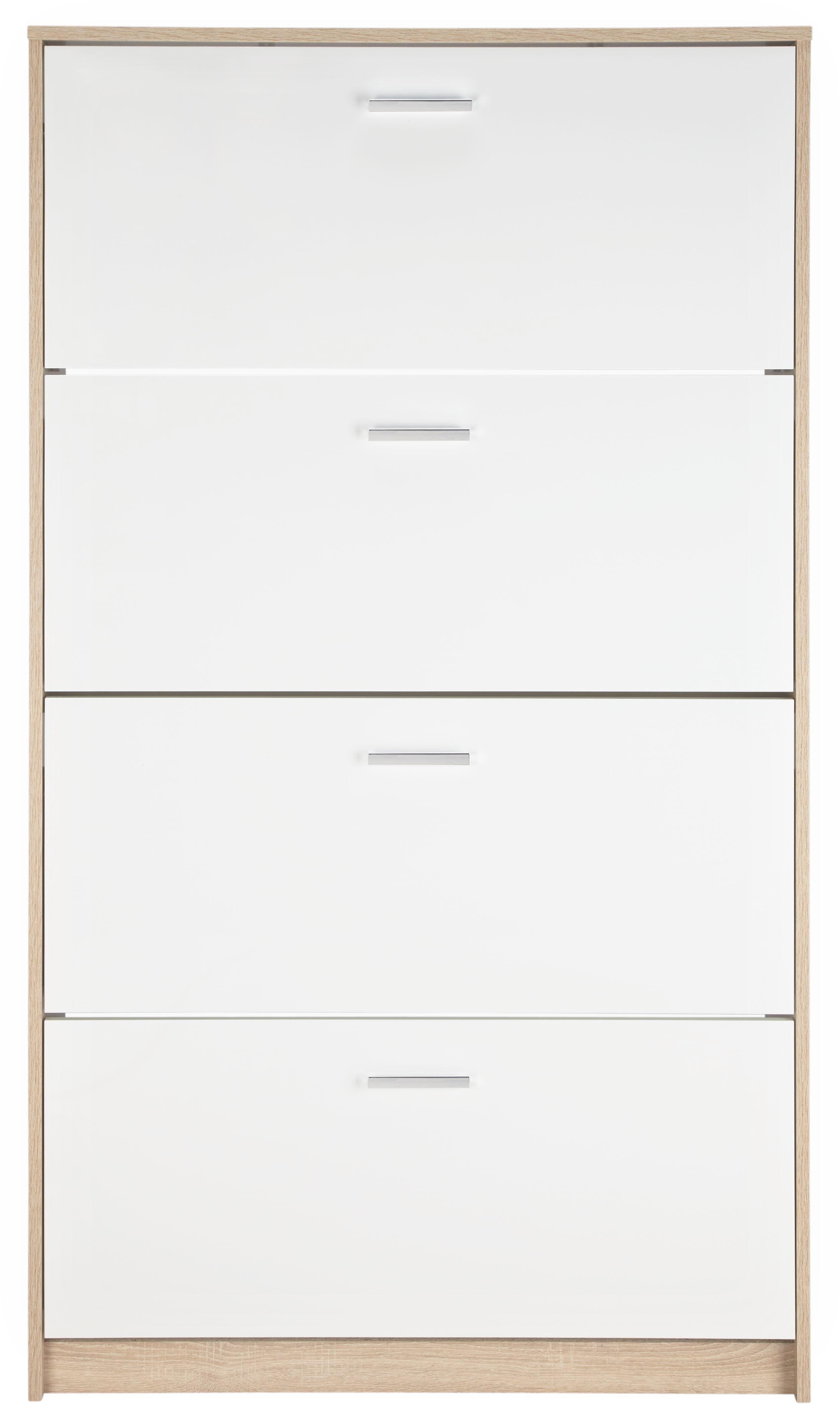 Schuhschrank in Eiche/Weiß - Chromfarben/Eichefarben, MODERN, Holzwerkstoff/Kunststoff (93/162/25cm) - MÖMAX modern living
