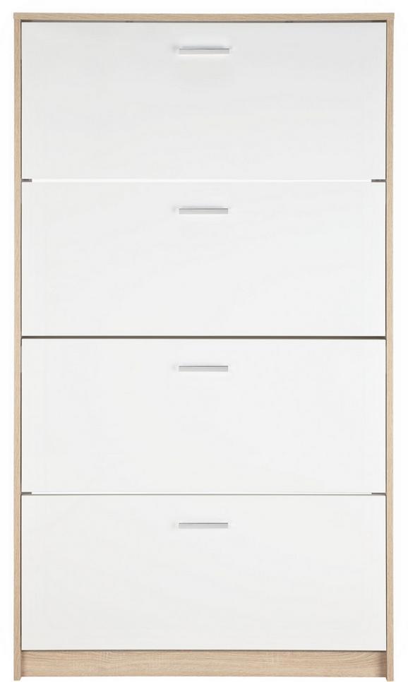 Schuhschrank Weiß/Eichefarben - Chromfarben/Eichefarben, MODERN, Holzwerkstoff/Kunststoff (93/162/25cm) - Mömax modern living