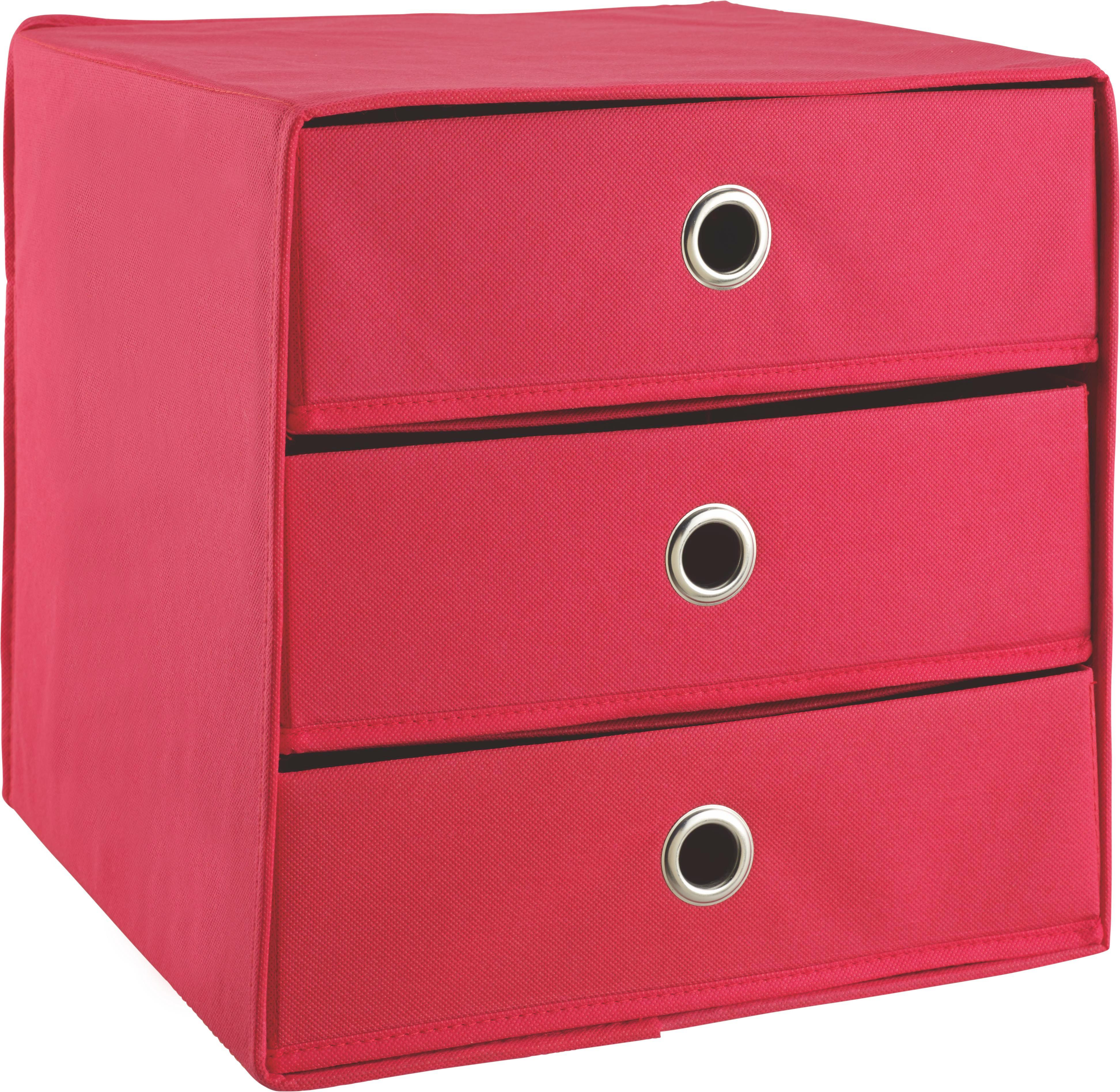 Container in Rot - Rot, Karton/Textil (31,5/32,0/31,5cm) - CARRYHOME
