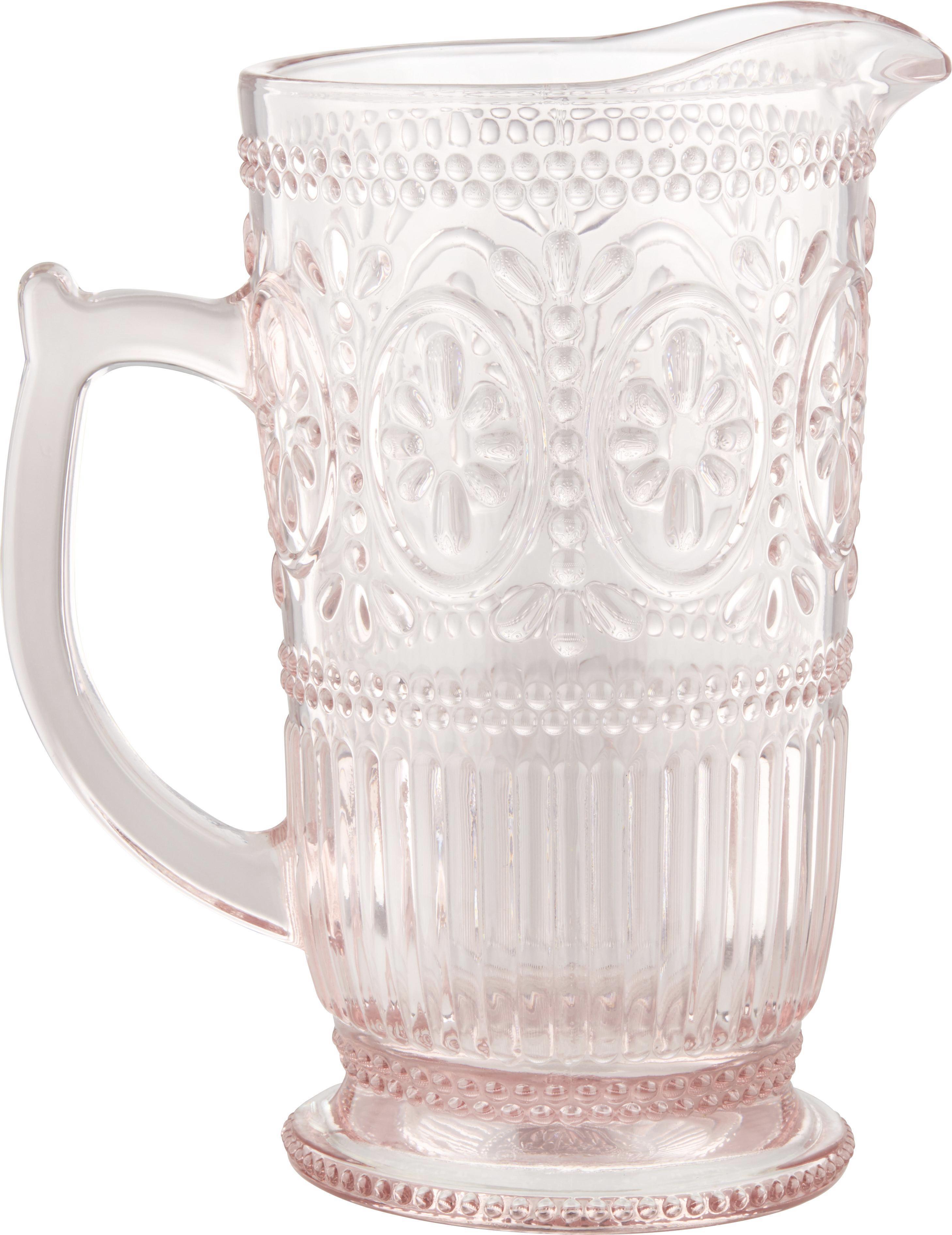 Glaskrug Remy in Rosa, ca. 1375ml - Rosa, ROMANTIK / LANDHAUS, Glas (12-18/22,8cm) - ZANDIARA