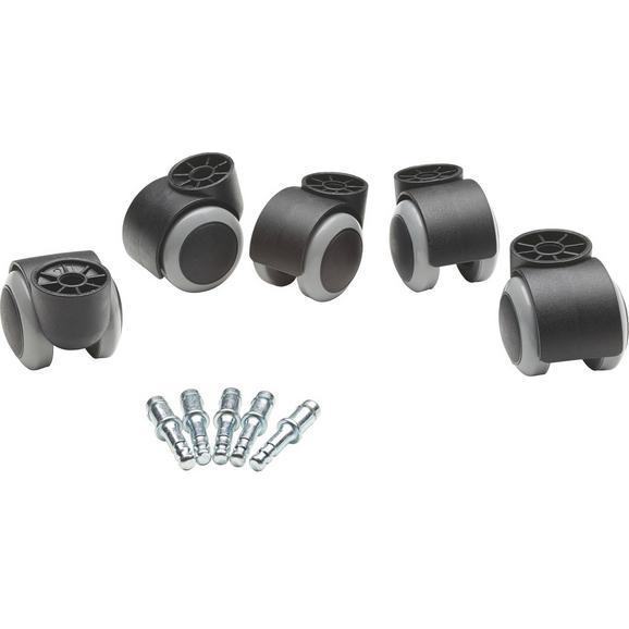Drehstuhlrolle 5-teilig - Schwarz/Grau, Basics, Kunststoff/Metall - Boxxx