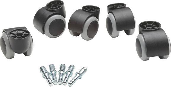 Drehstuhlrolle Filo - Schwarz/Grau, Basics, Kunststoff/Metall