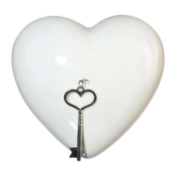Okrasno Srce Lara - bela, Romantika, keramika (9cm)