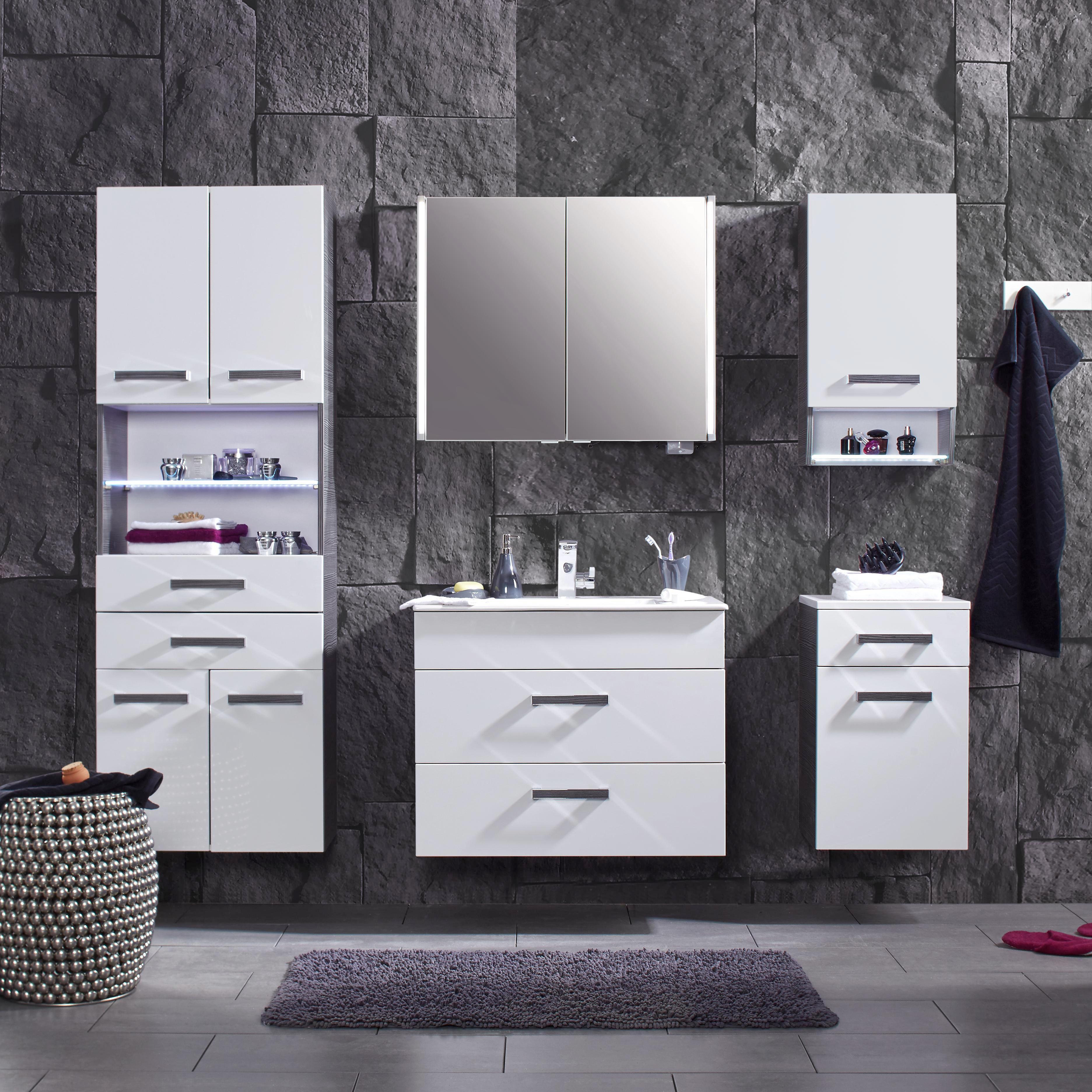 Unterschrank in Weiß/Anthrazit - Chromfarben/Mooreichefarben, MODERN, Glas/Holzwerkstoff (40/65/36,5cm) - PREMIUM LIVING