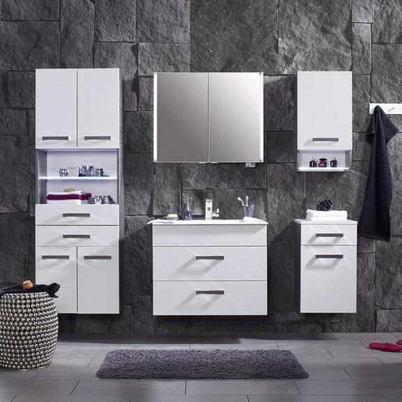 Waschtischkombi Weiß/Anthrazit - Chromfarben/Mooreichefarben, MODERN, Keramik/Holzwerkstoff (81/67/51cm) - Premium Living
